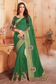 Designer Patches For Sarees Patch Work On Dark Green Art Silk Function Wear Saree With Designer Blouse