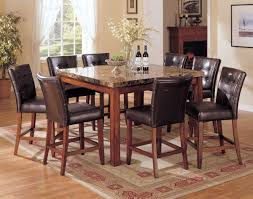 tall dining room set with laminate stone table feat leather chairs and rectangular carpet ideas