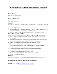 Event Planner Resume Simple Event Planner Resume Template Free