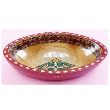 hand carved and colored oval shaped wooden bowl