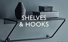 storage shelves and hooks