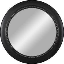 30 in l x 30 in w black polished round wall mirror