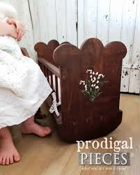 fabulous handmade wooden doll cradle with handpainted lily of the valley by larissa of prodigal with wooden doll cradle