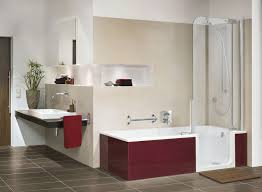 cool walk in bathtub shower combo and floating vanity with bathroom sheves also tile flooring