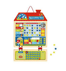 Daily Behaviour Chart Amazon Com Toysters Wooden Magnetic Responsibility Chart