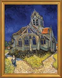 vincent van gogh painting church in auvers sur oise 1890 in a frame