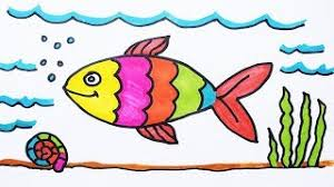 fish drawing for colouring. Contemporary Drawing How To Draw Fish And Coloring Under Water For Kids  Color A Throughout Drawing For Colouring