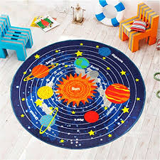 kids round rug solar system learning area rug children s fun area rug non slip bottom 3 3 x3 3 wantitall