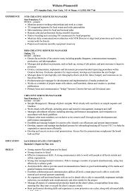 Creative Services Manager Resume Samples Velvet Jobs
