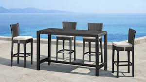 Contemporary Pub Table Set Swivel Patio Chairs Villa 7piece Cushioned Patio Dining Set