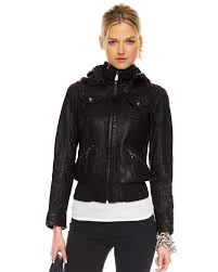 cool hooded leather jacket for women