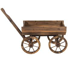 best choice products garden wood wagon flower planter pot stand with wheels home outdoor decor com