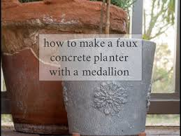 DIY Faux <b>Concrete Planter</b> with DIY Flexible Medallion - YouTube