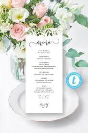 Printable Greenery Wedding Menu Template Editable Tea Length Reception Table Menu Cards Green Botanical Wedding Theme Templett