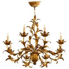 1950s italian gilt tole chandelier for