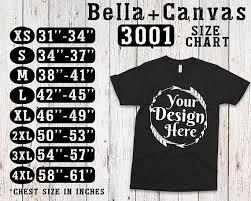 Bella Canvas T Shirt Size Chart Bella Canvas 3001 Size Chart T Shirt Mockup Flat Lay 5743