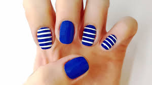 Sailor Nails - Nail Art Designs, Blue nail art tutorial with diy ...