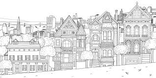 Free Coloring Page Coloring San Franscico Houses Fonts