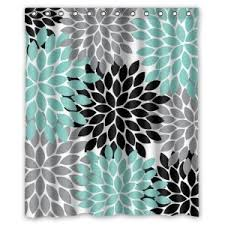 grey and coral shower curtain. the teal shower curtain would be good for bathroom because it helps incorporate grey and coral n