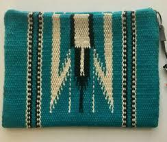 vtg la azteca chimayo woven wool purse zipper wallet w tag southwestern blanket