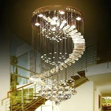 raindrop chandelier crystals luxury led crystal light bulb lamps flush mount staircase lighting fixture stainless st
