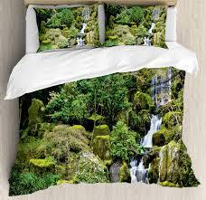 Waterscape Garden Designs Amazon Com Ambesonne Garden Duvet Cover Set Pond In Style