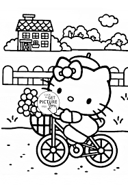 Small Picture Hello Kitty rides a bicycle coloring page for kids for girls