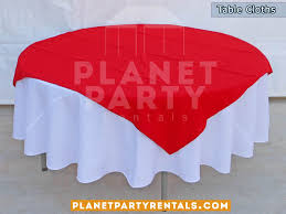 white round table cloths with red overlay diamond linen als san fernando valley van nuys panorama city north hollywood