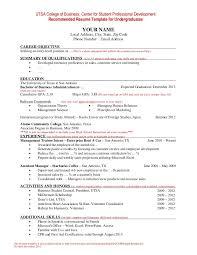 Resume For Internships Template Undergraduate 3 Resume Format Sample Resume Resume Resume Examples