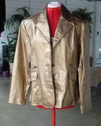 metrostyle womens genuine leather jacket blazer metallic bronze pockets 12 14