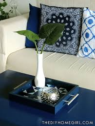Coffee Table Tray Decor Living Room Blue 3 Seat Sofa Large Plant Decor Greenery Oval