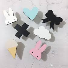 2018 nordic wood maple leaf kids room wall hooks decoration erfly cactus clouds bowknot clothes hook children wall hanger gift from jawman