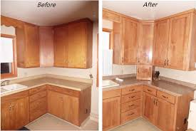 stain before after kitchen cabinet refacing