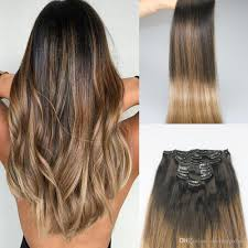 9a grade remy clip in omber hair extensions bage dark brown fading to ash blonde color highlights sew in clip on extensions 120g 22 inch hair extensions