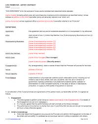 event agreement contract live promoter artist contract template