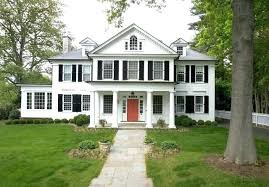 gray house white trim black shutters black shutters red door red eating club traditional exterior gray