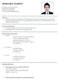 resume job application resume template format sample for job application free