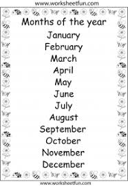 Months Of The Year Printable Chart And Other Printables