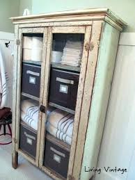 Antique Storage Cabinet Pine Shoe Hidden Bench Benches With White