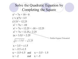 6 solve the quadratic equation by completing the square