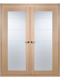 contemporary bleached oak interior double door lined frosted glass