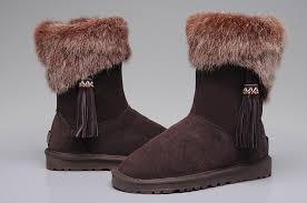 UGG 2894 Women Fox Fur Short Boots Chocolate