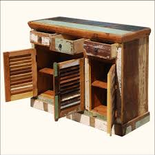 Matchless Rustic Reclaimed Teak Wood Buffet With Storage With - Exterior storage cabinets