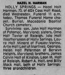 Obituary for Hazel Holt HARMAN (Aged 73) - Newspapers.com