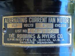 early electric fans robbins myers list desk fans  that is all you got no serial numbers or patent dates or other information was included if there were patents pending they never were on the motor tags of
