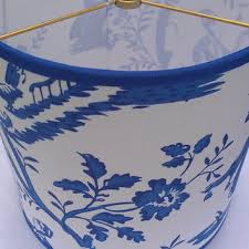 blue and white lamp shades toile shade chandelier square bell from for remodel 3