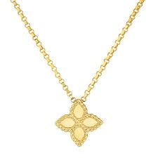 roberto coin 18k yellow gold princess flower pendant necklace 18