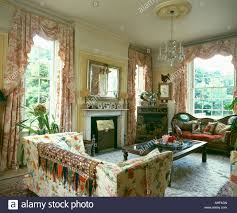 Patterned Curtains For Living Room Pink Toile De Jouy Curtains In Country Living Room With