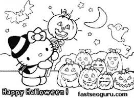 Small Picture Printable hello kitty Halloween with pumpkins coloring page