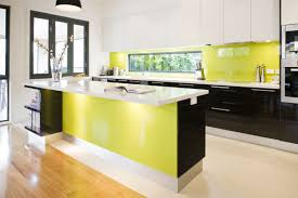 Yellow Kitchen Backsplash Green And Yellow Kitchen Ideas With Pendant Lamps And Modern Sink